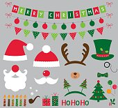 Christmas photo booth and decoration vector set