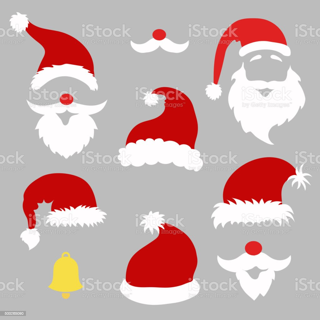 Christmas photo booth and  scrapbooking vector set Santa vector art illustration