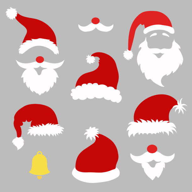 stockillustraties, clipart, cartoons en iconen met christmas photo booth and  scrapbooking vector set santa - kerstmanhoed