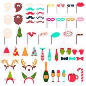 Christmas photo booth props and carnival masks vector cartoon icon set.