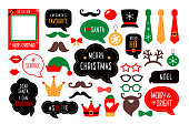 Christmas photo booth props. Santa hat and beard, elf hat, deer, snowman, candy, mustache, lips. Speech bubble merry christmas, believe, grinch, ho ho ho, nice, naughty. Xmas party photobooth