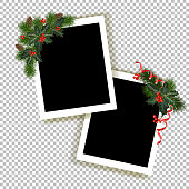 Set of Christmas photo frames. Collection of frames for festive photos with decorations. Vector illustration
