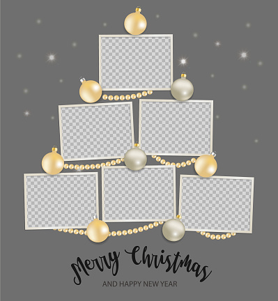 Christmas Photo frames Mockup.  Empty template with shiny balls and beads. vertical composition on gray background. Vector 3d realistic. Holiday collage. EPS10.