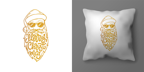Christmas pillowcase design with illustration of Santa and Merry Christmas lettering. Christmas golden typography in form of beard of Santa Claus. Vector template for your interior design.
