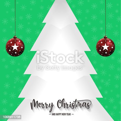 istock Christmas pine tree and ornaments with green background, vector 1068911738