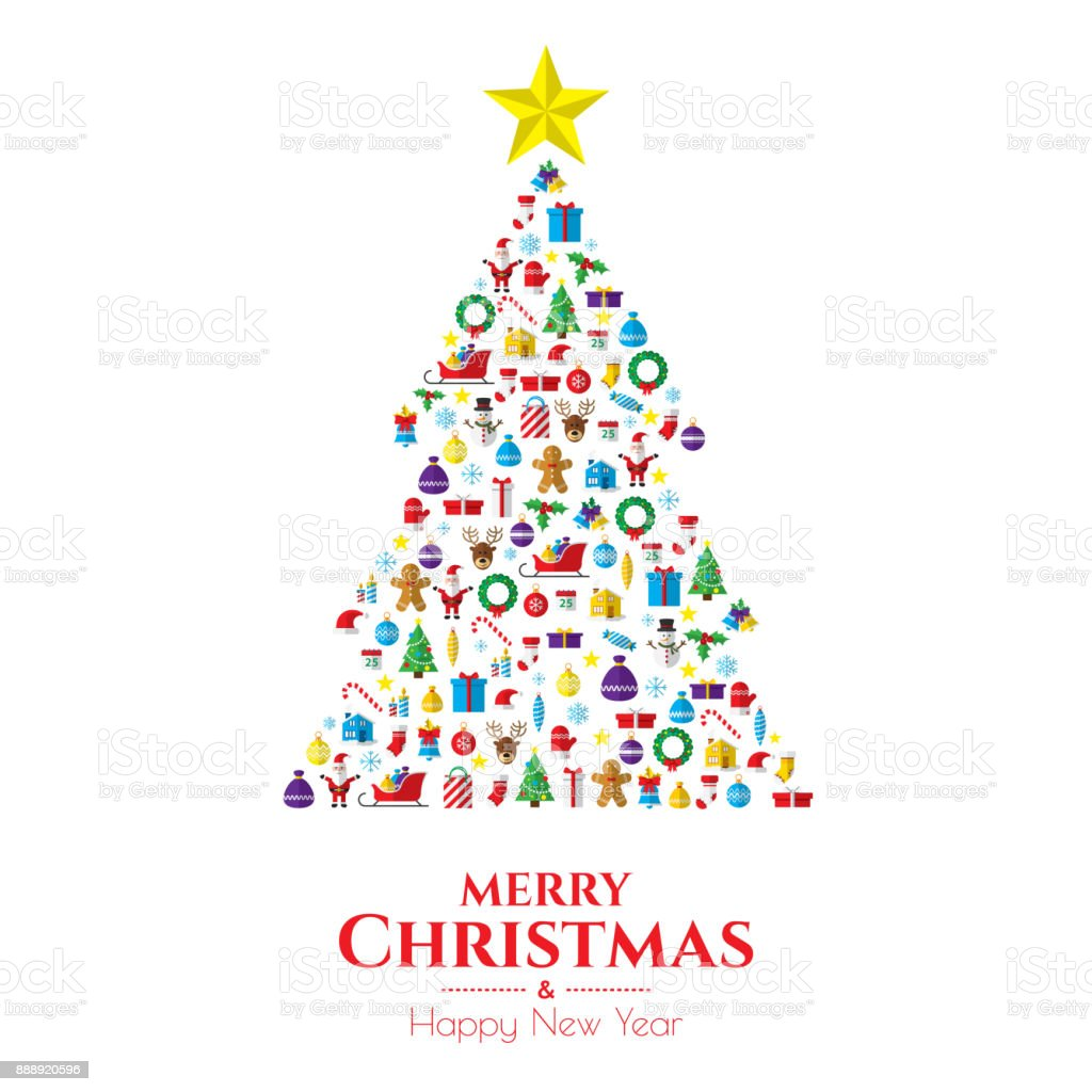 Wieso Tannenbaum Weihnachten.Weihnachten Tannenbaum Bestehend Aus Neujahr Icons Und Symbole Stock