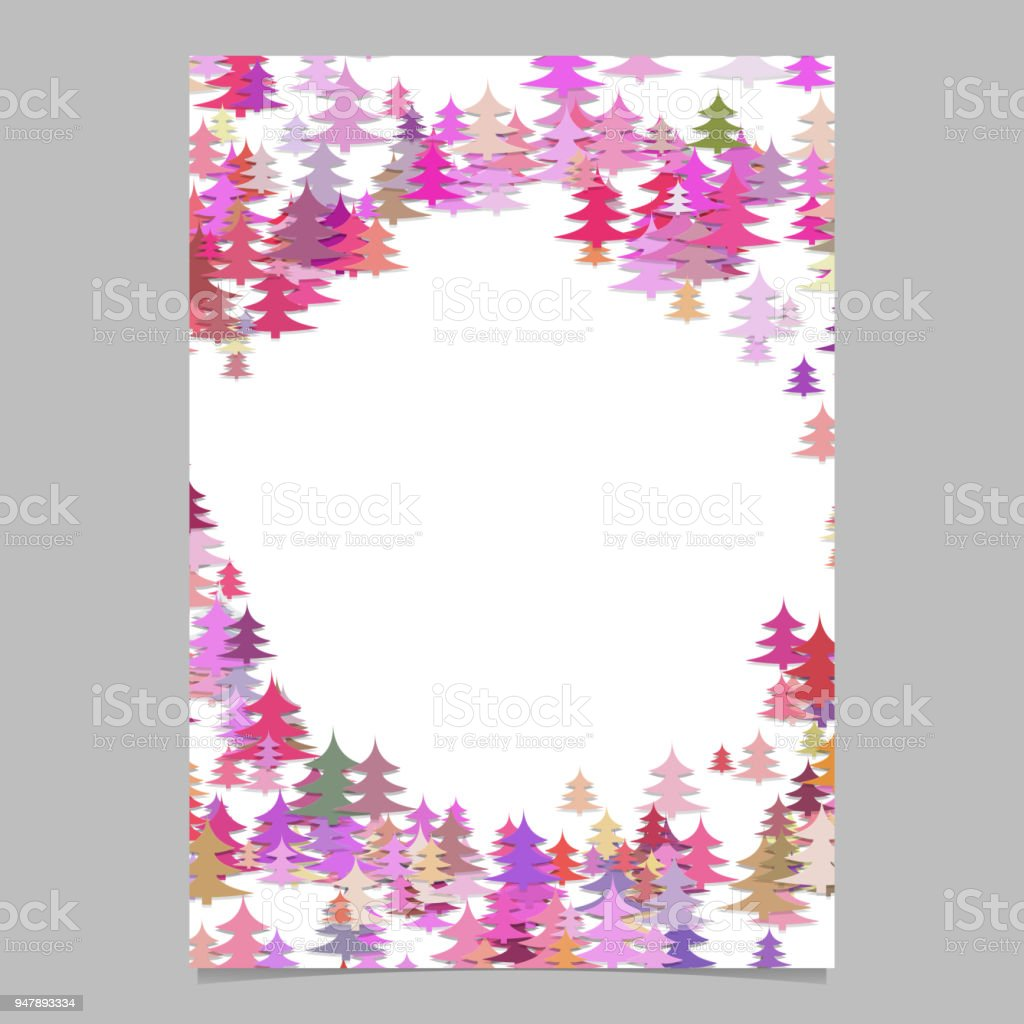 Christmas pine tree flyer template - blank seasonal vector brochure background graphic vector art illustration