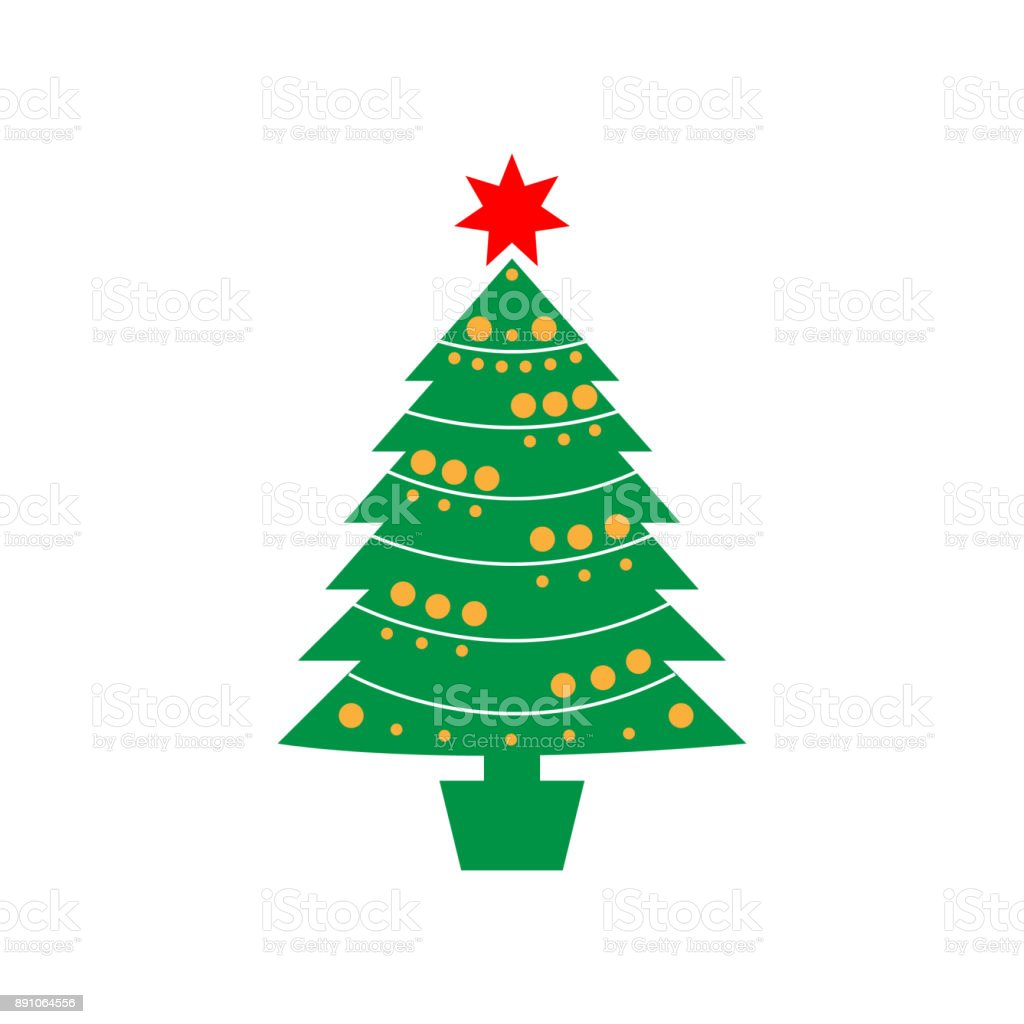 Christmas Pine Tree Icon Christmas Or New Year Element Premium Color ...