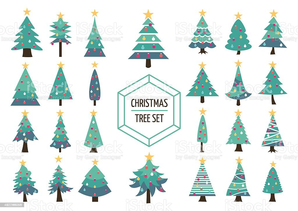 Christmas pine tree set icon holiday decoration vector art illustration