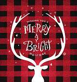 Vector illustration of a Christmas plaid background with deer head and antlers greeting design with hand drawn text. Easy to edit.