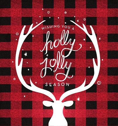 Christmas plaid background with deer head and antlers greeting design with hand drawn text
