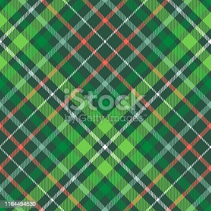 istock Christmas plaid pattern. Green, red and white tartan repeat. 1164494530