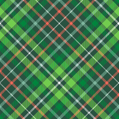 Christmas plaid pattern. Green, red and white tartan repeat.
