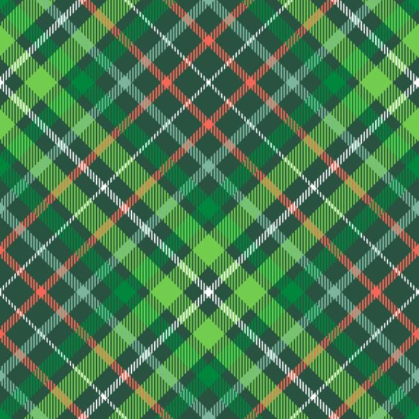 Christmas plaid pattern. Green, red and white tartan repeat. Allover checkered fabric texture wrapping stock illustrations