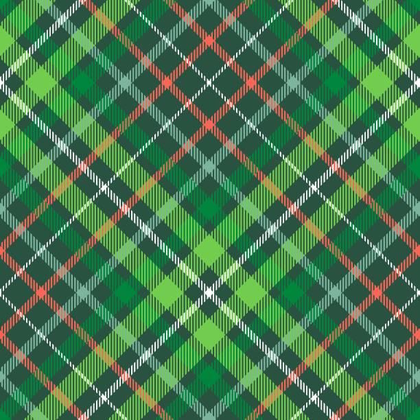 크리스마스 격자 무늬 패턴입니다. 녹색, 빨간색과 흰색 타탄 반복. - 포장지 stock illustrations