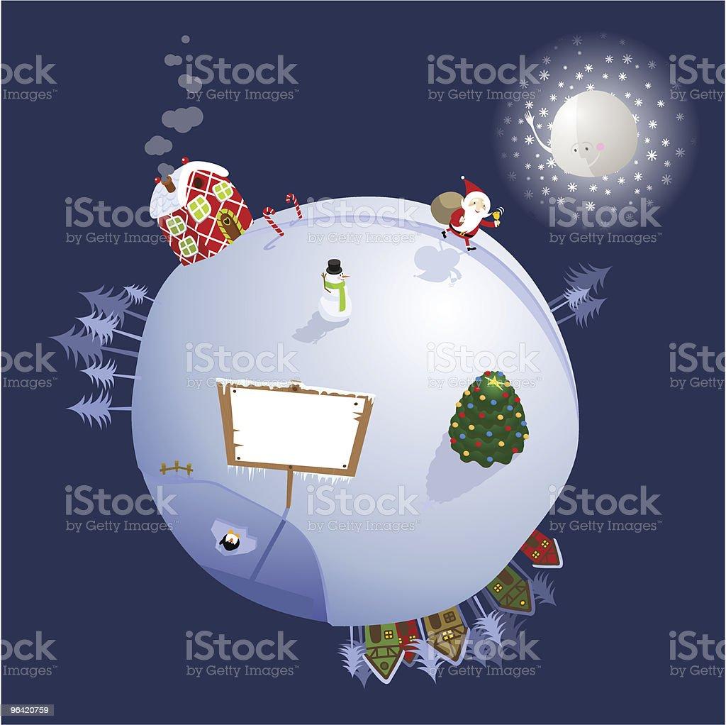 Christmas planet vector art illustration