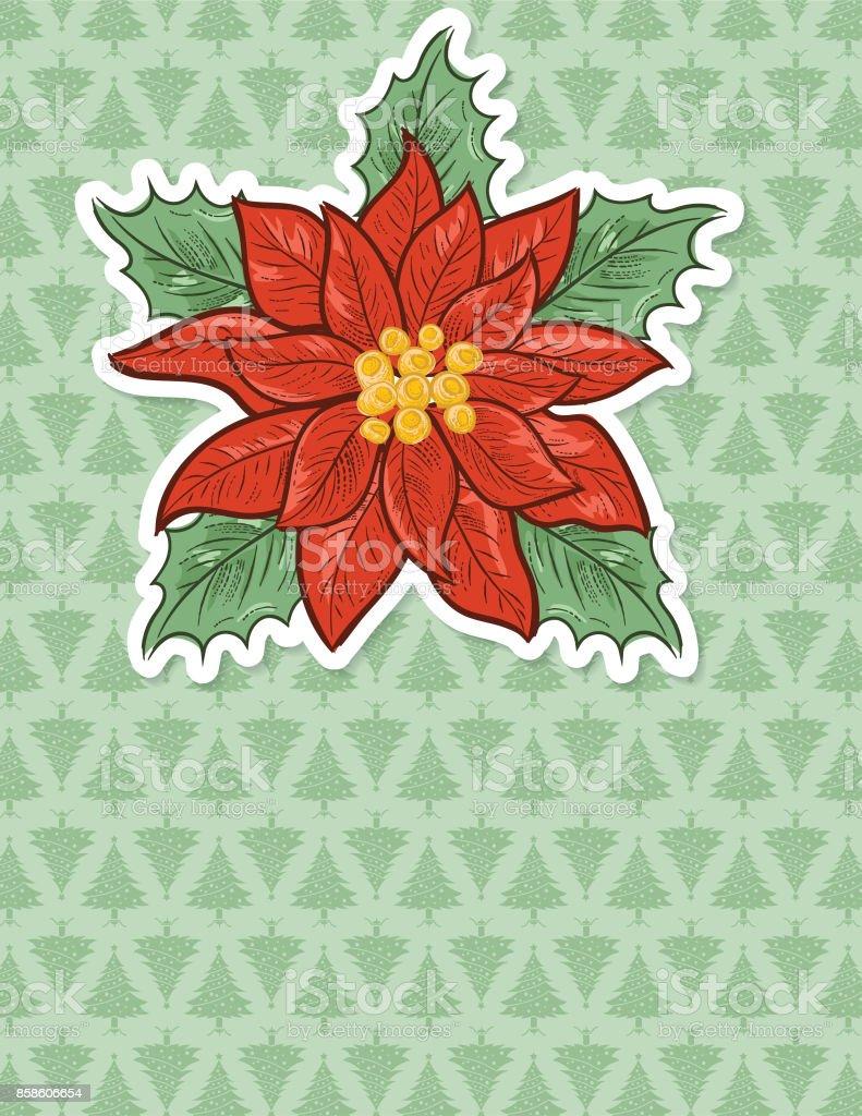 Weihnachten Weihnachtsstern Hintergrund Mit Weihnachtsbaum Muster ...