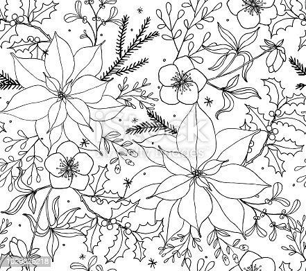 Christmas Poinsettia Floral Seamless Vector Pattern Line Art. Holly, Hellebores, Pine, and Berries drawing and ready to color.