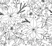 Christmas Poinsettia Floral Seamless Vector Pattern Line Art
