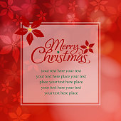 Christmas floral pattern in red background with tint color square sharp message board.