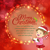 Little girl caroler in front of the Christmas message board, fully poinsettia graphic elements on the red background.