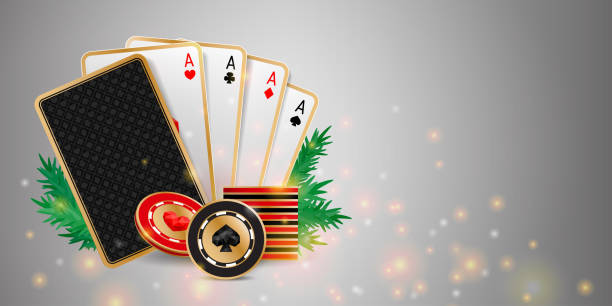 Christmas poker banner Shiny Christmas casino banner with playing cards, chips and fir branches on grey background. Holiday poker hand poker stock illustrations