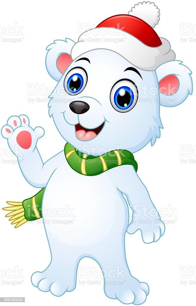 christmas polar bear cartoon waving hands stock vector art