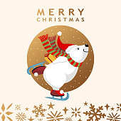 Polar bear ice-skating and holding Christmas present behind his back on snowflakes background