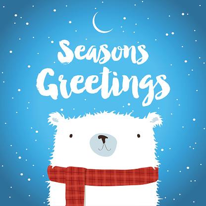 Christmas Polar Bear in the snow Seasons Greetings