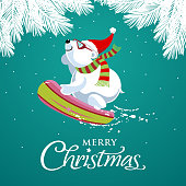 Polar bear snowboarding and wearing Santa's hat on pine tree green background