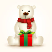 Christmas cute animal cartoon character.