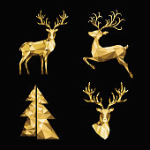 Christmas polygonal  gold  reindeer and Xmas tree  on black background. Low poly triangle  golden deer head. Vector illustration in origami style.