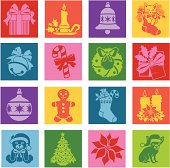 Vector icons with a Christmas theme in a pop art style.