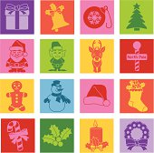 Vector Christmas icons in a pop art style.