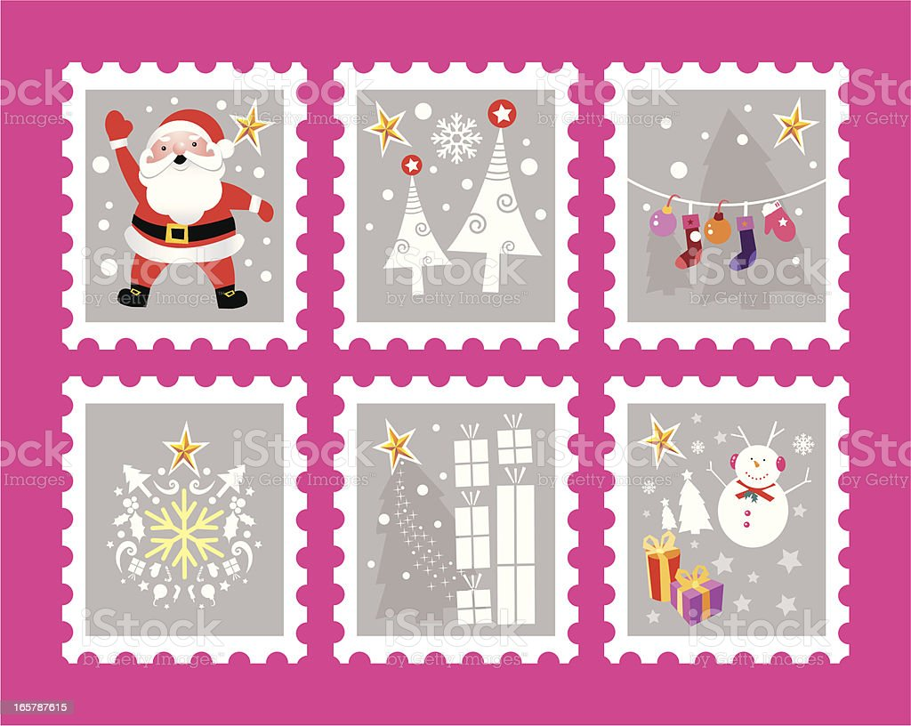 Christmas postage stamps royalty-free stock vector art