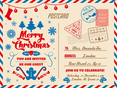 Christmas postcard, holiday party invitation