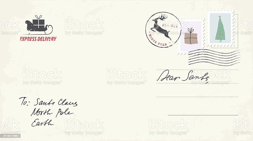 Christmas Postcard Letter to Santa vector art illustration