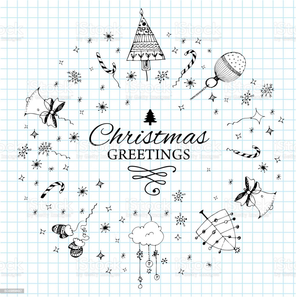 Christmas Postcard Template With Doodles Stock Vector Art More