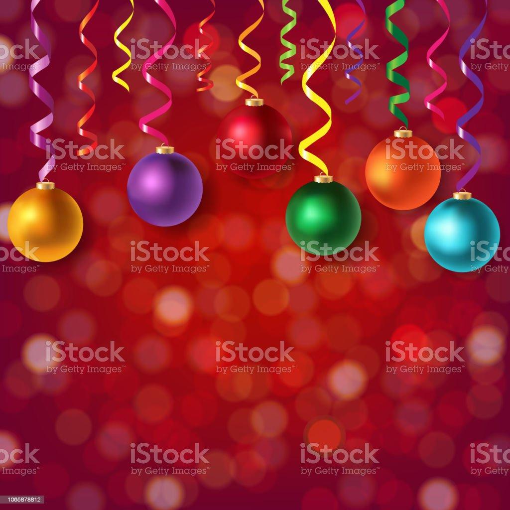 Christmas Postcard With Bokeh And Xmas Balls With Gradient Mesh,...