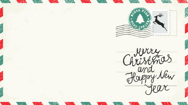 Christmas Postcard with stamps. Christmas Letter. Christmas Postcard. Christmas Wish north pole stock illustrations