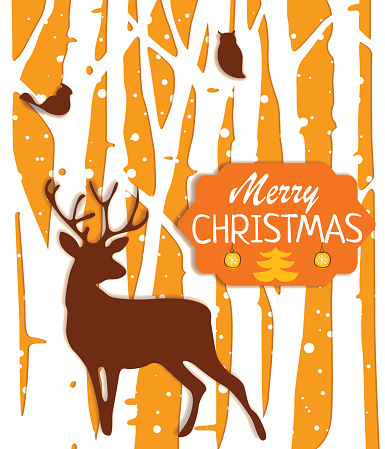 Christmas postcard with trees and deer in orange colors