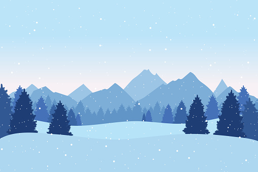 Christmas postcard with winter landscape with pine trees,  mountains and snowflakes. Xmas background. Vector illustration