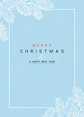 Christmas Poster - Illustration. Vector illustration of Christmas Background with branches of Christmas tree on blue.