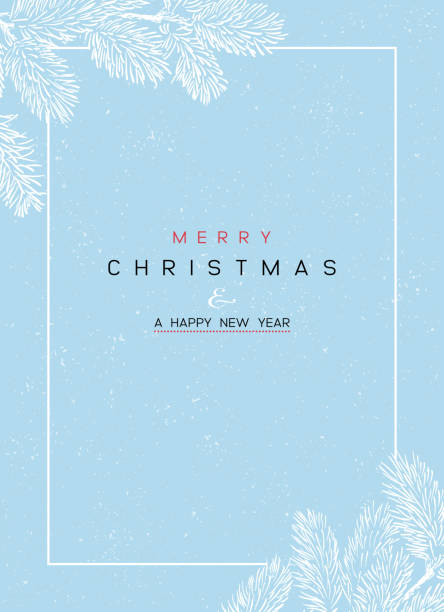 Christmas Poster - Illustration. Vector illustration of Christmas Background Christmas Poster - Illustration. Vector illustration of Christmas Background with branches of Christmas tree on blue. christmas backgrounds stock illustrations