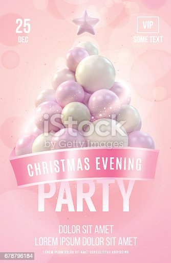 Christmas Poster Or Flyer Template With Pink Christmas Tree Made In