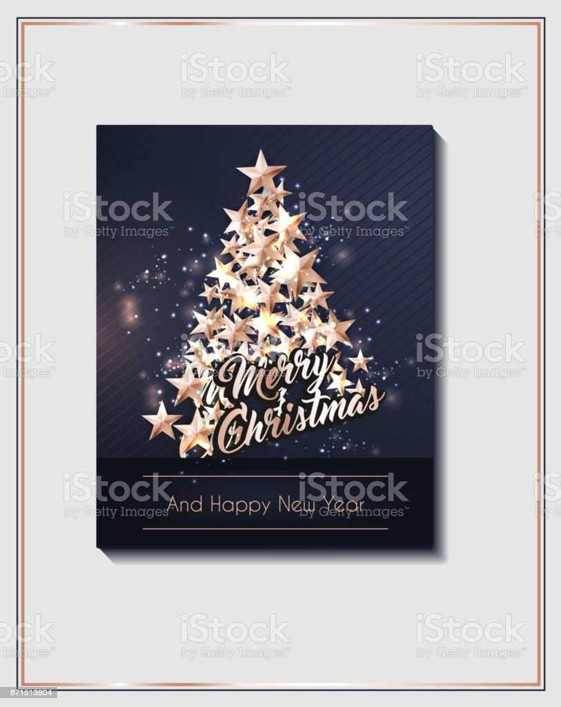 christmas poster template with christmas tree of cutout shining gold