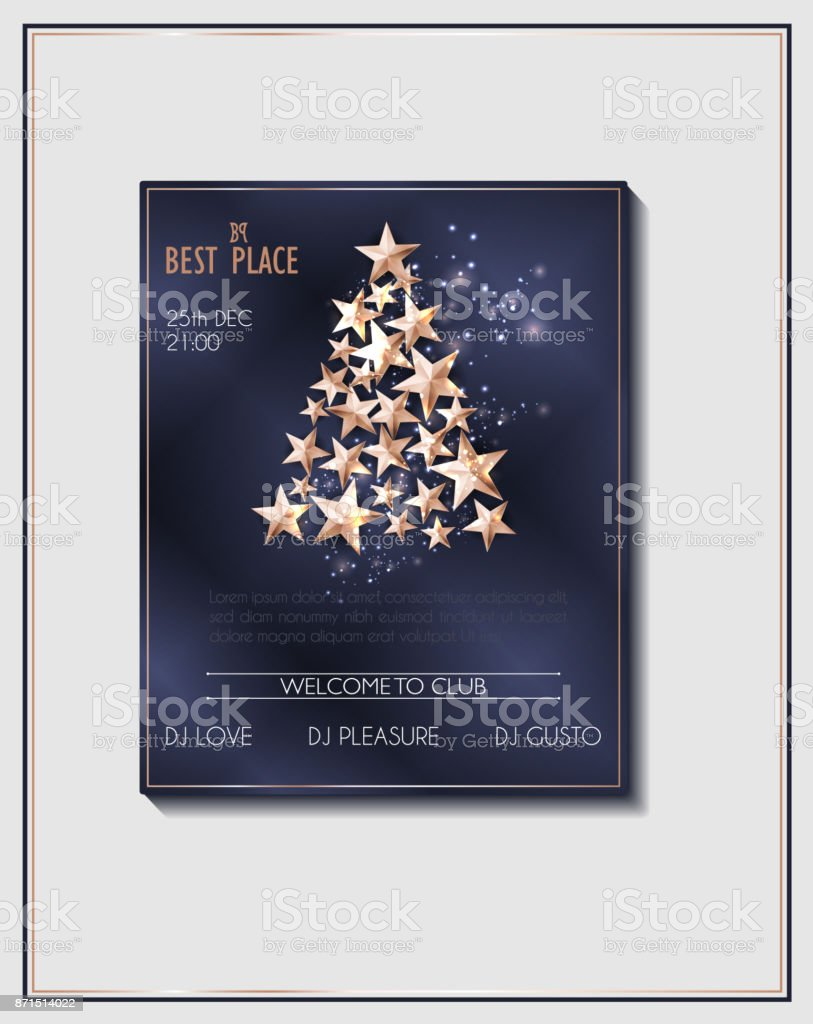 Christmas Poster Template With Christmas Tree Of Cutout Shining Gold ...