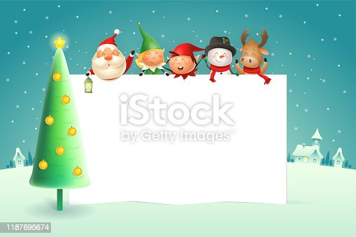 istock Christmas poster template with Santa Claus Elves Snowman Reindeer and Christmas tree - winter landscape on background 1187695674