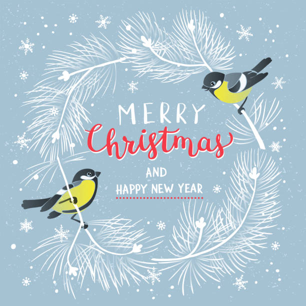 Christmas Poster. Vector illustration of Christmas Background Christmas Poster. Vector illustration of Christmas Background with branches of christmas tree and two tomtits . chickadee stock illustrations