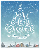 A very merry Christmas Poster. Vector illustration.